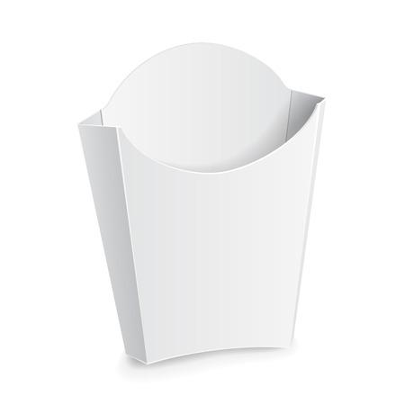 フライド ポテト ホワイト ペーパー ボックスをモックアップします。白い背景の上に分離します。あなたのデザインの準備ができて。製品梱包ベク  イラスト・ベクター素材