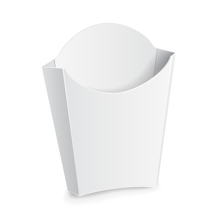 Mock Up French Fries White Paper Box. On White Background Isolated. Ready For Your Design. Product Packing Vector EPS10