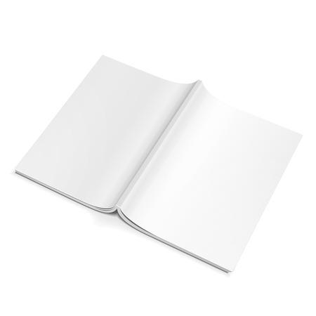 開いた空のマガジンをバック カバー、本、小冊子、パンフレット。白い背景の上に分離します。あなたのデザインのテンプレートの準備ができてを