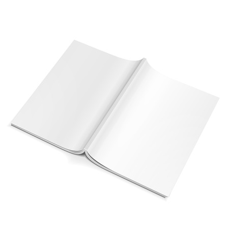 Blank Opened Magazine Back Cover, Book, Booklet, Brochure. On White Background Isolated. Mock Up Template Ready For Your Design. Product Packing Vector EPS10