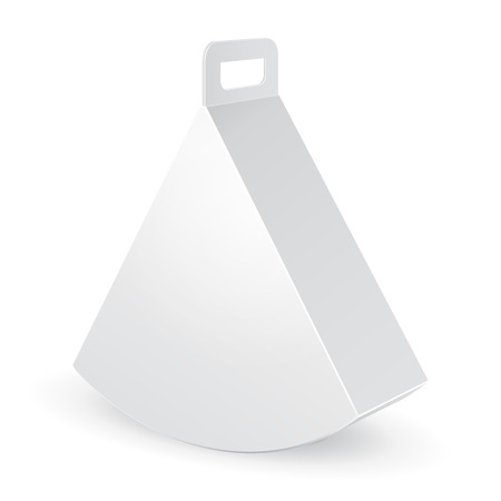 lunch box: White Mock Up Cardboard Triangle Carry Box Bag Packaging For Food, Gift Or Other Products. On White Background Isolated. Ready For Your Design. Product Packing Vector EPS10