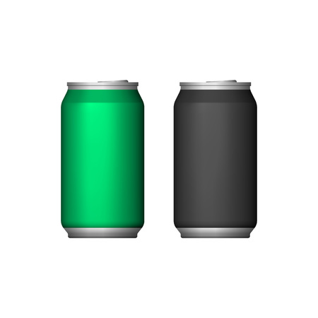 aluminum: Two Aluminum Can Green Black. Blank Metal Aluminum Beverage Drink Can. Illustration Isolated. Mock Up Template Ready For Your Design.