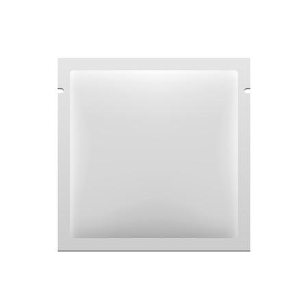 White Blank Retort Foil Pouch Packaging Medicine Drugs Or Coffee, Salt, Sugar, Pepper, Spices, Sachet, Sweets Or Condom. Illustration