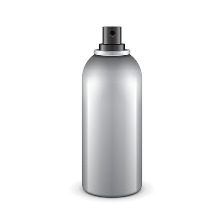 freshener: Gray Aerosol Spray Metal 3D Bottle Can: Paint, Graffiti, Deodorant. Mock Up Template Ready For Your Design.