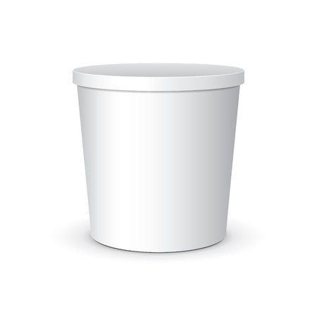 sour: White Mock Up Food Plastic Tub Bucket Container For Dessert, Yogurt, Ice Cream, Sour Cream Or Snack. Ready For Your Design. Product Packing Vector Illustration