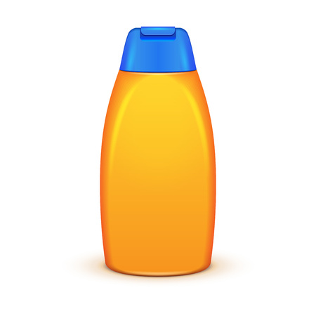 complexion: Oil Shower Gel Bottle Of Shampoo Yellow. Illustration Isolated On White Background. Mock Up, Mockup Template Ready For Your Design.