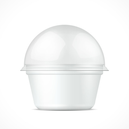 ice cream cup: White Food Plastic Tub Bucket Container For Dessert, Yogurt, Ice Cream, Sour Cream Or Snack. Illustration Isolated On White Background.