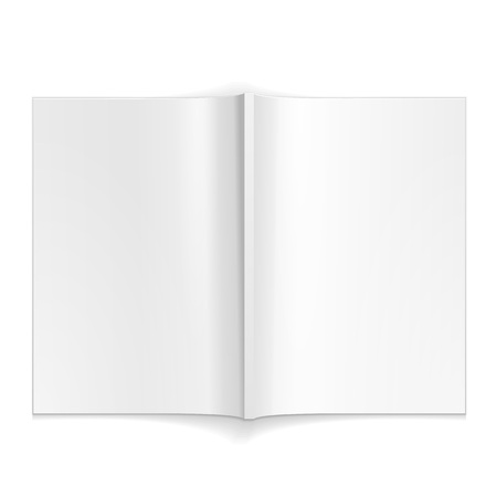 blank magazine: Blank Opened Magazine, Book, Booklet, Brochure. On White Background Isolated. Mock Up Template Ready For Your Design.