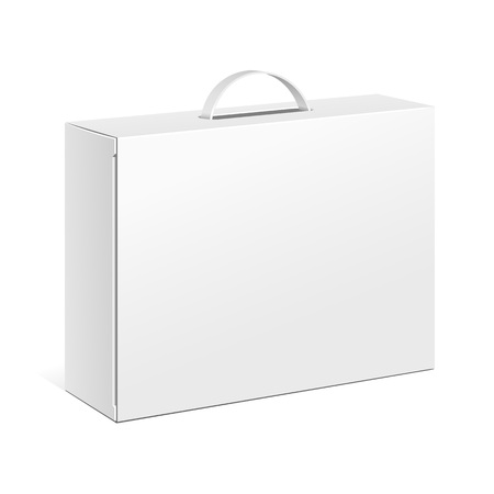 White Product Cardboard Package Box With Hang Slot. Illustration Isolated On White Background. Mock Up Template Ready For Your Design.