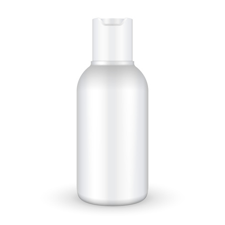 freshener: Mock Up Cream, Shampoo, Gel Or Lotion Plastic Bottle On White Background Isolated.