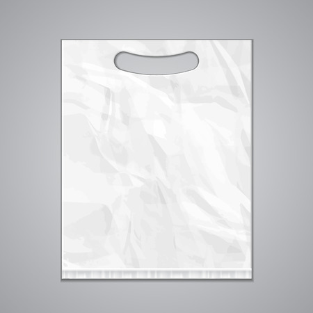Disposable Plastic Bag Package Template Grayscale. Mock Up modèle prêt pour votre conception. Emballage du produit Vector