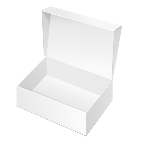 box design: Opened White Cardboard Package Box. Gift Candy. On White Background Isolated. Mock Up Template Ready For Your Design