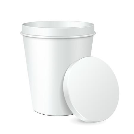 yogurt ice cream: White Food Plastic Tub Bucket Container For Dessert, Yogurt, Ice Cream, Sour Cream Or Snack. Mock Up Template Ready For Your Design.