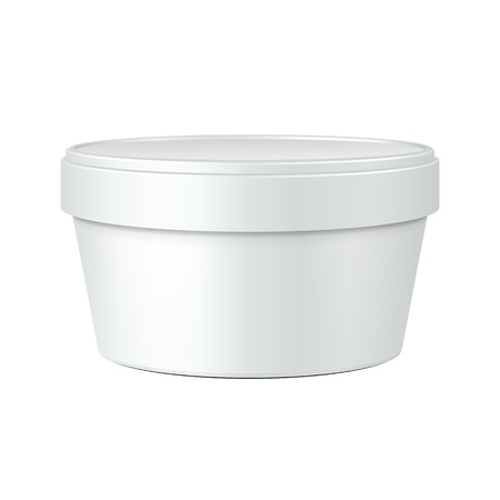 sour: White Food Plastic Tub Bucket Container For Dessert, Yogurt, Ice Cream, Sour Cream Or Snack. Illustration Isolated On White Background. Mock Up Template Ready For Your Design. Product Packing Illustration