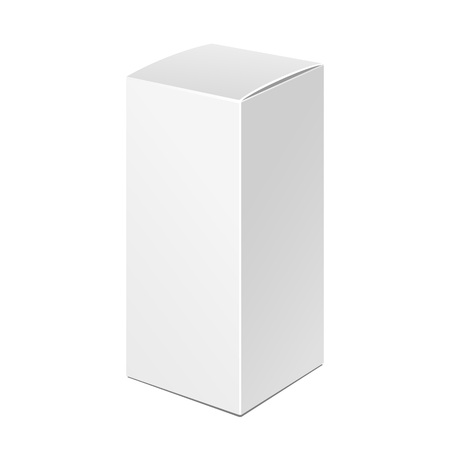 product box: Tall White Product Cardboard Package Box. Illustration Isolated On White Background. Mock Up Template Ready For Your Design.