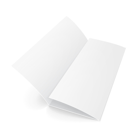 Blank Trifold Paper Brochure With Shadows. On White Background Isolated. Mock Up Template Ready For Your Design. Vector EPS10 Illustration