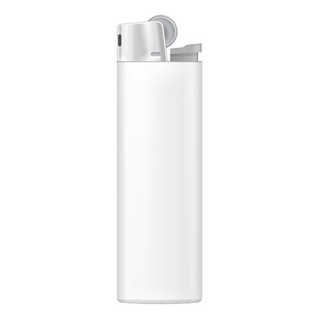 cigarette lighter: White Blank Cigarette Lighter. On White Background Isolated. Mock Up Template Ready For Your Design. Product Packing Vector EPS10