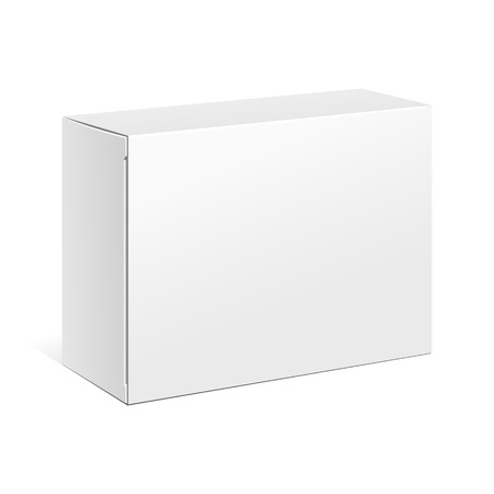 White Product Cardboard Package Box. Illustration Isolated On White Background. Mock Up Template Ready For Your Design. Vector EPS10 Vectores