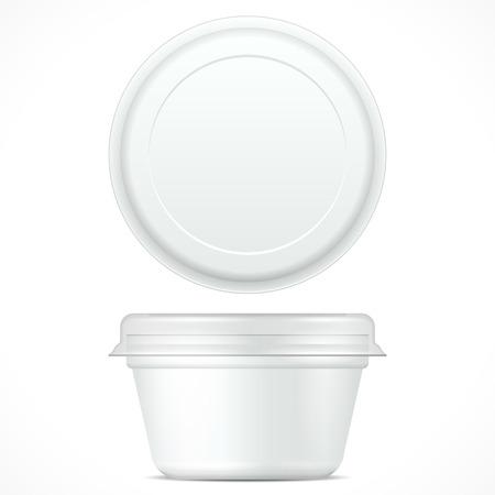 Alimento plástico de hidromasaje compartimiento envase para el postre, yogur, helado, crema agria o un aperitivo. Ilustración sobre fondo blanco. Mock encima de la plantilla listo para su diseño. Embalaje del producto