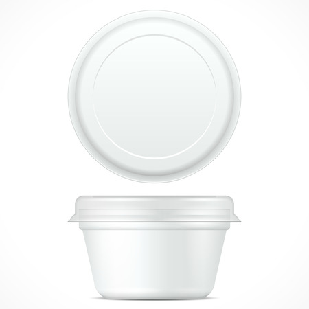 White Food Plastic Tub Bucket Container For Dessert, Yogurt, Ice Cream, Sour Cream Or Snack. Illustration Isolated On White Background. Mock Up Template Ready For Your Design. Product Packing Illustration