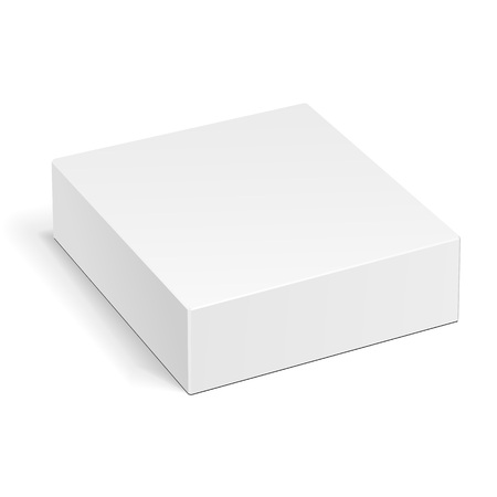 White Product Cardboard Package Box. Illustration Isolated On White Background. Mock Up Template Ready For Your Design. Vector EPS10 Illustration