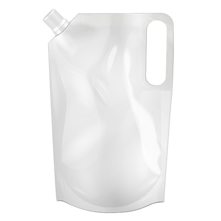 White Blank Doy-pack, Doypack Foil Food Or Drink Bag Packaging With Corner Spout Lid. Illustration Isolated On White Background. Mock Up Template Ready For Your Design. Vector EPS10