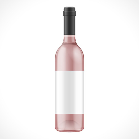 unopened: Pink Glass Wine Cider Bottle With Label. Illustration Isolated On White Background. Mock Up Template Ready For Your Design. Product Packing Vector EPS10. Isolated. Illustration