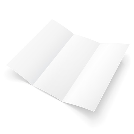 latter: Blank Trifold Paper Brochure With Shadows. On White Background Isolated. Mock Up Template Ready For Your Design. Illustration