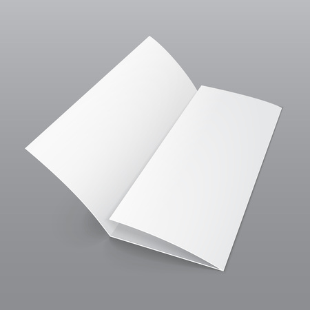 triple: Blank Trifold Paper Brochure With Shadows. On Gray Background Isolated. Mock Up Template Ready For Your Design.