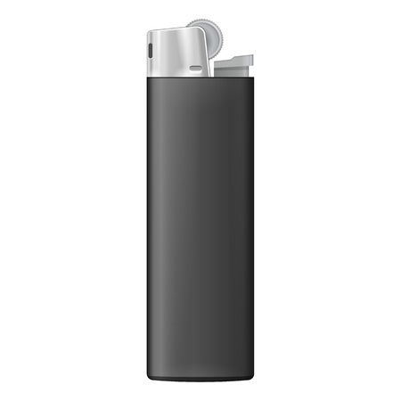 lighter: Black Blank Cigarette Lighter. On White Background Isolated. Mock Up Template Ready For Your Design. Product Packing
