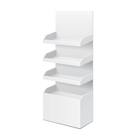 single shelf: White POS POI Cardboard Blank Empty Displays With Shelves Products. On White Background Isolated. Mock Up Template Ready For Your Design. Product Packing Illustration