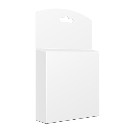 hang up: White Product Package Box With Hang Slot. Blank On White Background Isolated. Mock Up Template Ready For Your Design
