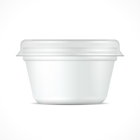 ice cream cup: White Food Plastic Tub Bucket Container For Dessert, Yogurt, Ice Cream, Sour Cream Or Snack. Illustration Isolated On White Background. Mock Up Template Ready For Your Design. Product Packing Illustration