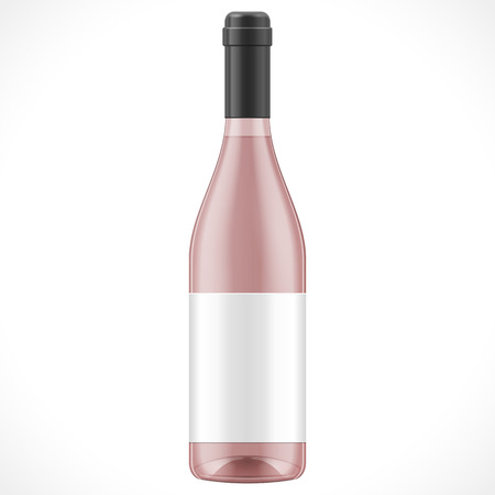 champagne: Pink Glass Wine Cider Bottle With Label. Illustration Isolated On White Background. Mock Up Template Ready For Your Design. Product Packing Vector EPS10. Isolated. Illustration