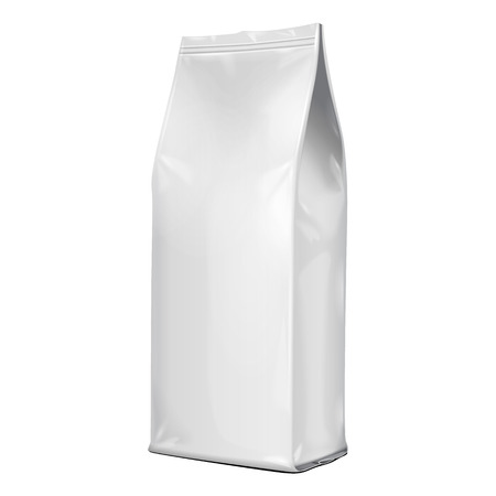 Foil Paper Food Bag Package Of Coffee, Salt, Sugar, Pepper, Spices Or Flour, Folded, Grayscale. On White Background Isolated. Mock Up Template Ready For Your Design. Product Packing Vector EPS10 Vectores