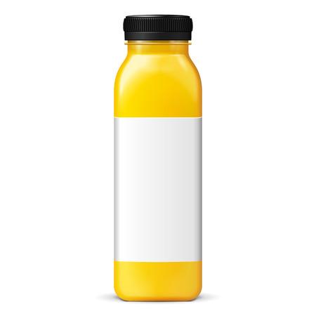 botella: Jugo o mermelada de cristal amarillo p�rpura tarro botella con la etiqueta en fondo blanco aislado. Maqueta, maqueta plantilla lista para su dise�o. Ilustraci�n de EPS10