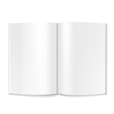 Blank Opened Magazine, Book, Booklet, Brochure. On White Background Isolated. Mock Up Template Ready For Your Design. Product Packing Vector EPS10 Ilustração