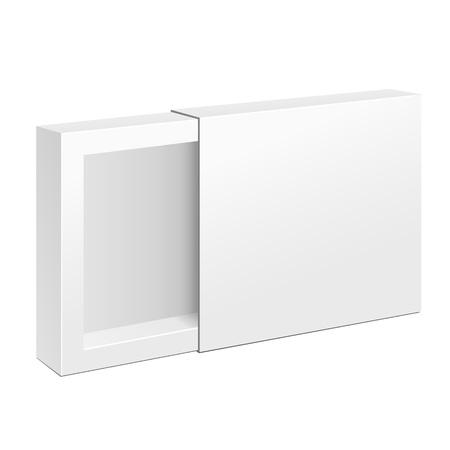흰색 제품 골 판지 패키지 상자가 열렸습니다. 그림 흰색 배경에 고립입니다. 귀하의 디자인에 대 한 준비 템플릿을 모의. 벡터 일러스트