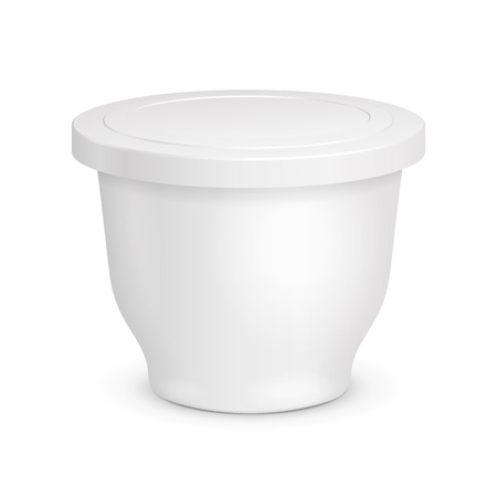 White Cup Tub Food Plastic Container For Dessert, Yogurt, Ice Cream, Sour Sream Or Snack.