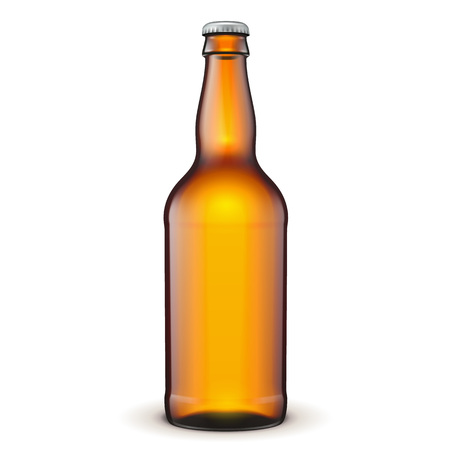 Glass Beer Brown Bottle On White Background Isolated.  Illustration Isolated On White Background. Mock Up Template Ready For Your Design. Vector EPS10 Illustration