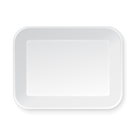 food tray: White Empty Blank plastic Food Tray Container. Illustration Isolated On White Background. Mock Up Template Ready For Your Design. Vector Illustration