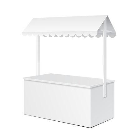 White POS POI Blank Empty Retail Stand Stall Bar Display With Roof, Canopy. On White Background Isolated. Mock Up Template Ready For Your Design. Product Packing Vector EPS10
