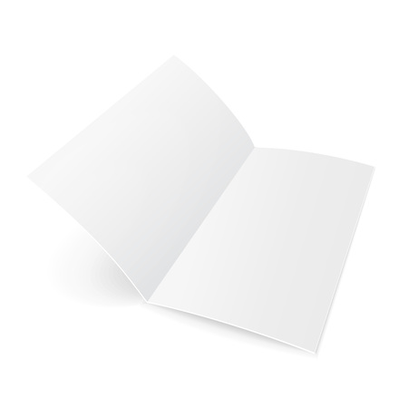 latter: Blank Trifold Paper Brochure With Shadows. On White Background Isolated. Mock Up Template Ready For Your Design. Vector EPS10 Illustration