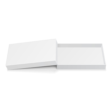 packaging box: Opened White Cardboard Package Box. Gift Candy. On White Background Isolated. Mock Up Template Ready For Your Design. Product Packing Vector
