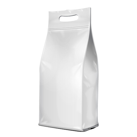 mocca: Foil Paper Food Bag Package With Handle, Salt, Sugar, Pepper, Spices Or Flour, Folded, Grayscale.