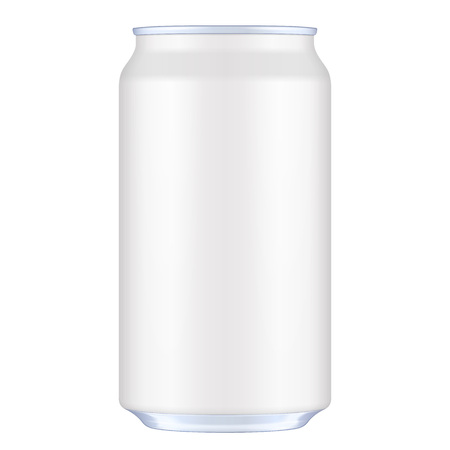 White Blank Metal Aluminum Beverage Drink Can. Illustration Isolated. Mock Up Template Ready For Your Design.  イラスト・ベクター素材