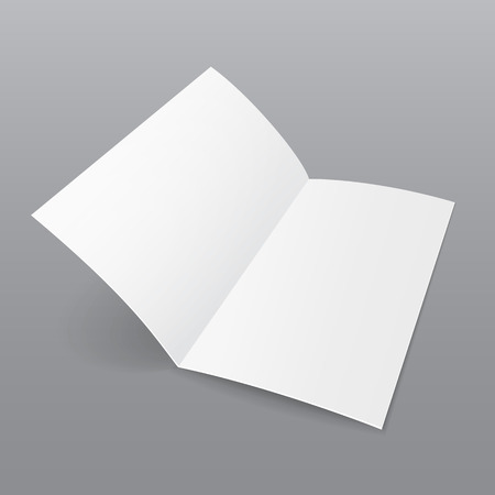 Blank Folded Paper Brochure With Shadows. On Gray Background Isolated. Mock Up Template Ready For Your Design. Vector