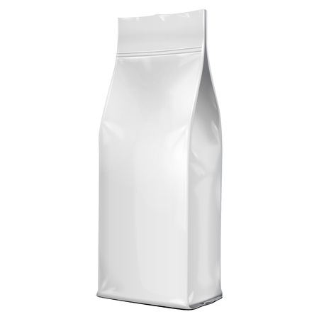 sacks: Foil Paper Food Bag Package Of Coffee, Salt, Sugar, Pepper, Spices Or Flour, Folded, Grayscale. On White Background Isolated. Mock Up Template Ready For Your Design. Product Packing Vector