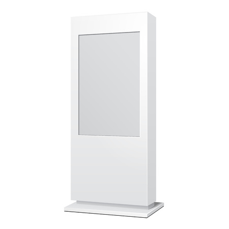 lightbox: Outdoor White POS POI Citylight Lightbox Advertising Stand. Illustration Isolated On White Background. Mock Up Template Ready For Your Design. Vector