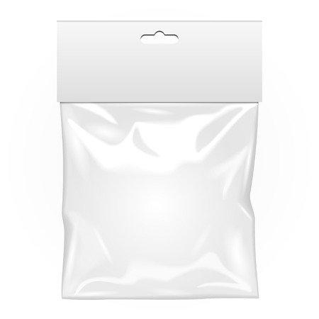 hang up: White Blank Plastic Pocket Bag. Transparent. With Hang Slot. Illustration Isolated On White Background. Mock Up Template Ready For Your Design. Vector